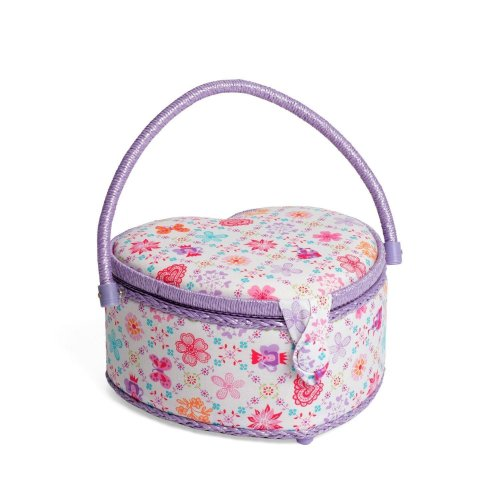 Hobbygift Classic Heart Shaped Medium Sewing Basket - Royal - 22cm x 25cm x 14cm