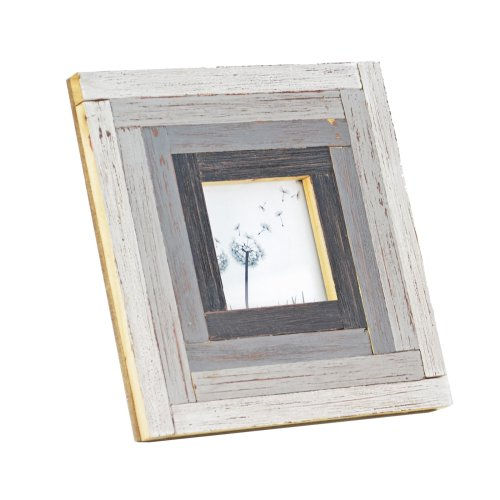 Free Standing Rustic Finish Reclaimed Pine Wood Photoframe in Grey