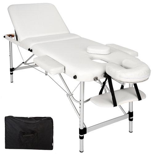 3-zone massage table aluminium 5 cm padding + bag white