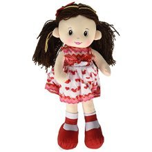 """Linzy Nora Rag Doll, Heart Dress, Valentine Collection, Red 16"""""""