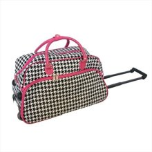 All-Seasons 816062202IT-F 21 in. Vacation Deluxe Carry-On Rolling Duffel  Bag  44  Pink Houndstooth c905cae1e3d06