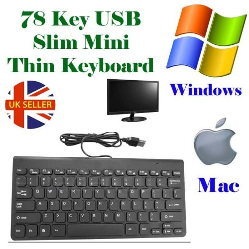 BLACK MINI SLIM 78 KEY USB WIRED COMPACT THIN KEYBOARD FOR DESKTOP