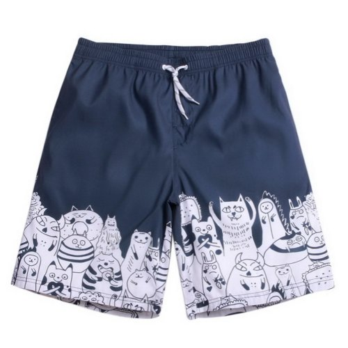 Men's Sports Casual Beach Loose Fashion Shorts, Monster Cat Graffiti