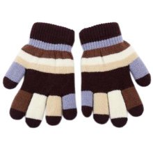 Unisex Lovely Mixed Color Double Layer Mittens Baby Hand Gloves, Coffee