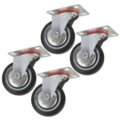 "3"" (75mm) Rubber Swivel Castor Wheels Trolley Furniture Caster (4 Pack) CST02"
