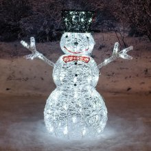 Premier Decorations - 76cm Mains Operated Indoor & Outdoor Acrylic Snowman Christmas Figure - 88 White LEDs