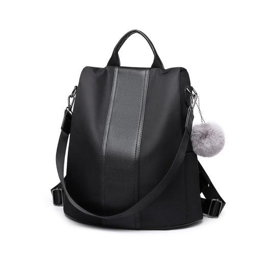 Miss Lulu Women Anti-theft Backpacks Girls Fur Ball School Bags Waterproof Daypack Rucksack Black