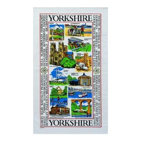 Sights of Yorkshire Tea Towel Souvenir Gift Whitby Scarborough Moors York Abbey