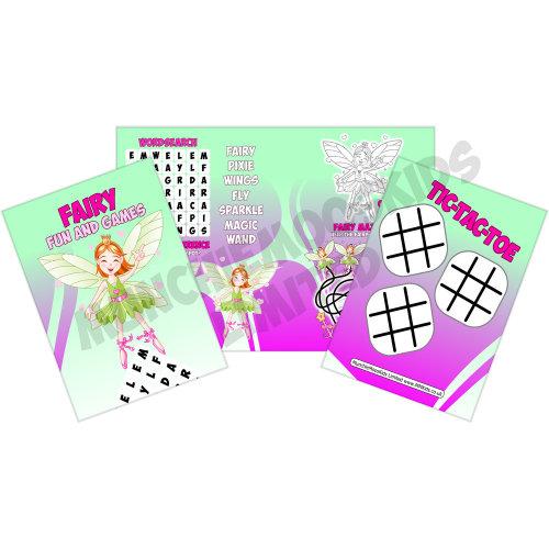 12 x Fairy Princess Fun & Games Activity Sheets Party Bag Fillers