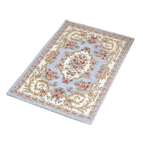 Persian Door Mat Grey Blue Paisley Mat