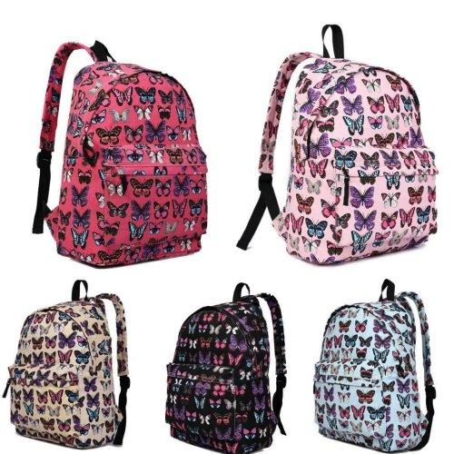 KONO Women Girls Backpack Butterfly Canvas School Bag