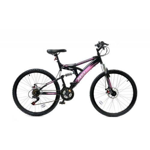 "Basis 1 Full Dual Suspension Mountain Bike MTB 26"" Wheel Disc Brakes 21Sp Pink"