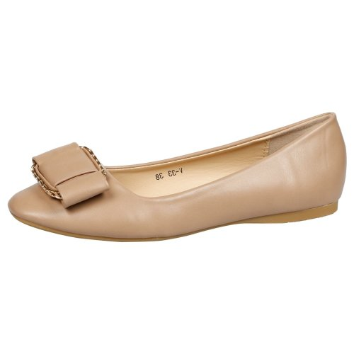 Maryann Womens Flat Slip On Bow Chain Detail Ballerinas