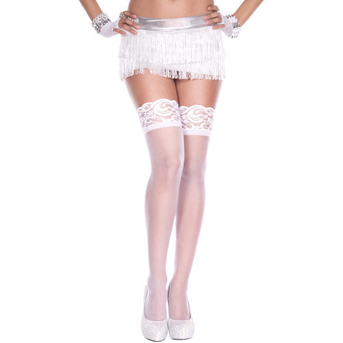 Silicone lace top spandex sheer thigh hi WHITE  Ladies Lingerie Stockings - Music Legs