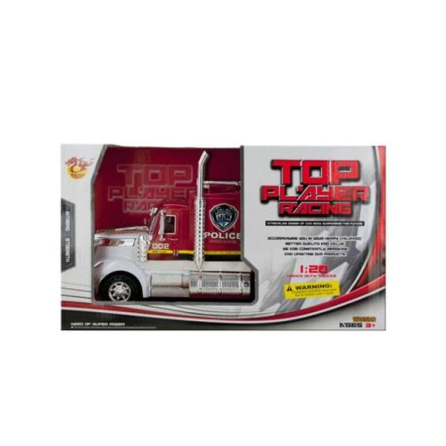 Kole Imports KL254-6 13.5 x 5.12 in. Friction Powered Police Semi-Trailer Truck, Pack of 6