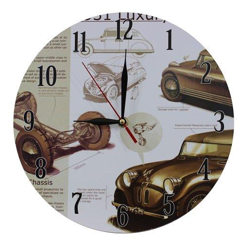 Obique Home Decoration Nostalgic Retro Cars Scene 28cm MDF Wall Clock