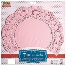 Doilies Round 37cm Pink 12's
