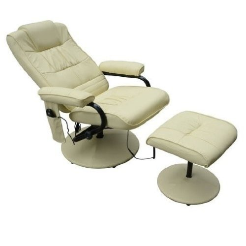 Homcom Faux Leather Massage Recliner Chair Armchair with Foot Stool