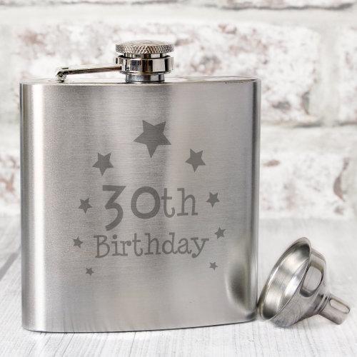 30th Birthday Hip Flask