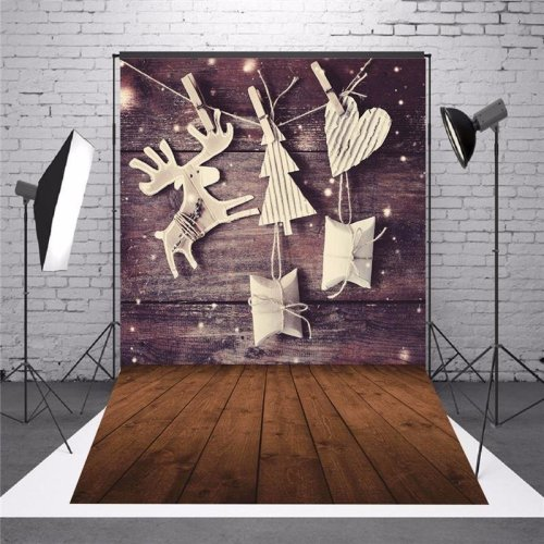 5 x 7 FT Christmas Theme Christmas Gift Elk Wood Board Photo Vinyl Background