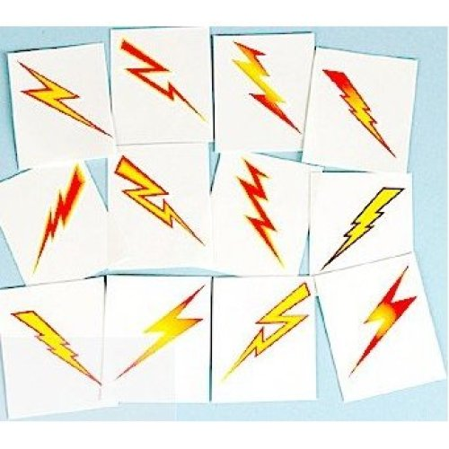 Pack of 12 - Lightning Bolt Temporary Tattoos - Party Bag Fillers