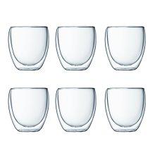 Bodum 4558-10-12 PAVINA Double Walled Thermo Glasses 0.25 L, 8 oz,Transparent, Set of 6