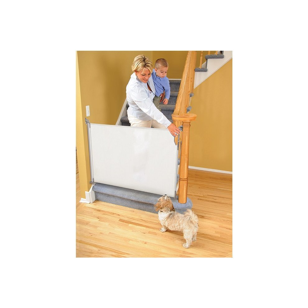 Dreambaby Retractable White Stair Gate Baby Safety Gate