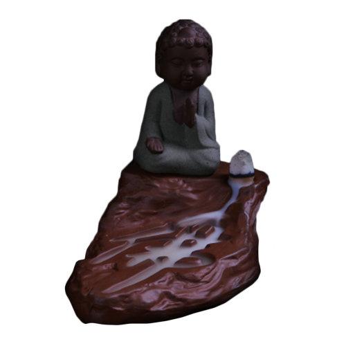 Zazen Buddha Incense Burner Incense Holder for Meditation Home Decor