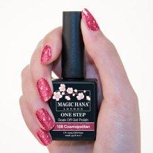 Magic Hana One Step UV LED Gel Polish Glitter Pink?108 Cosmopolitan