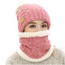Women Winter Warmer Knitted Hat And Scarves Set