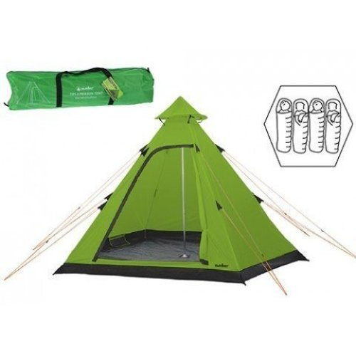 Summit Hydrahalt - 4 Person Green Tipi Camping Outdoors Tent Includes Pegs - -  summit hydrahalt person tent camping 4 pyramid tipi holiday new