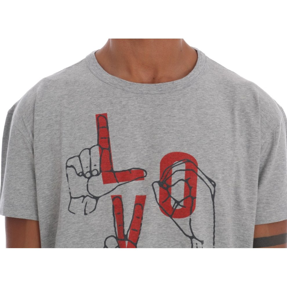 d1f7fe115 ... Moschino Gray Motive Print Cotton Stretch T-Shirt - 4 ...
