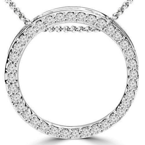 Circle Pendant Necklace 2.50 Ct. Sparkling Round Cut Diamonds White Gold 14K
