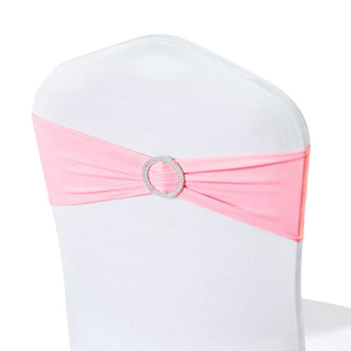 10PCS Chair Back Wedding Bow Sashes Chair Cover Bands With Buckle-Pink