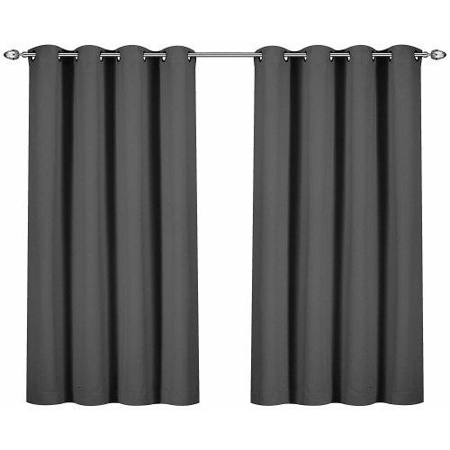 Black Room Darkening Curtains.Utopia Bedding Blackout Room Darkening Curtains Thermal Insulating Window Curtains Panels Drapes 2 Panels Set 8 Grommets Per Panel 2 Tie