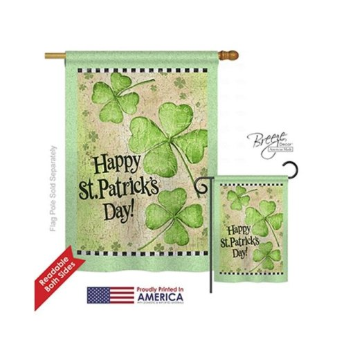 Breeze Decor 02032 St Pats Day Clover 2-Sided Vertical Impression House Flag - 28 x 40 in.