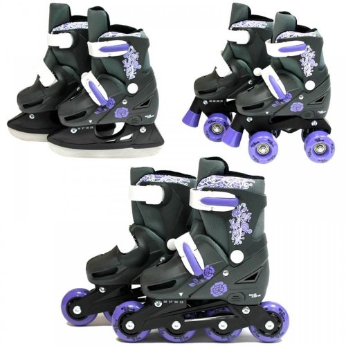 SK8 Zone Girls Purple 3in1 Adjustable Roller Blades Inline Quad Ice Skates New[Small 9-12 (27-30 EU)]
