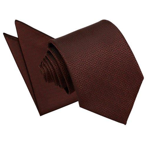 Burgundy Greek Key Tie & Pocket Square Set