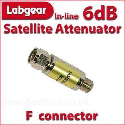 Labgear 6dB Inline Satellite Attenuator F connector Male to Female