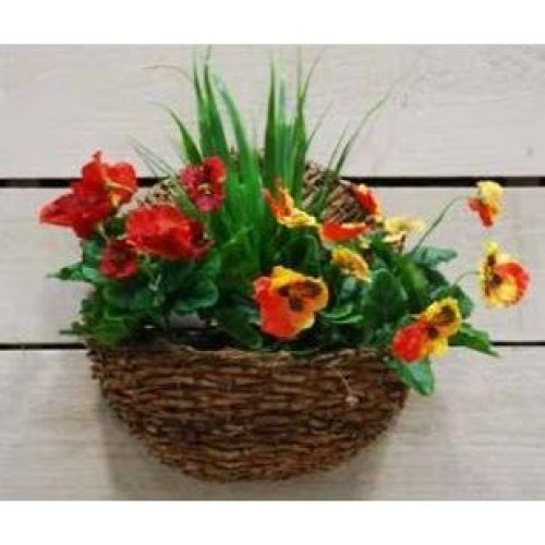 Artificial Silk Wall Pansy Basket - 30cm, Red and Yellow Pansies