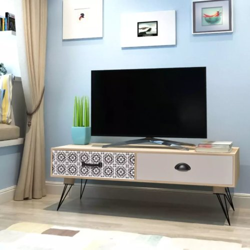 Side Table Media Unit TV Cabinet HiFi Cabinet Sideboard Lowboard with 2 Drawers