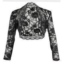 Grace & Flair - Ladies Black Lace Long Sleeve Bolero Size 6-30