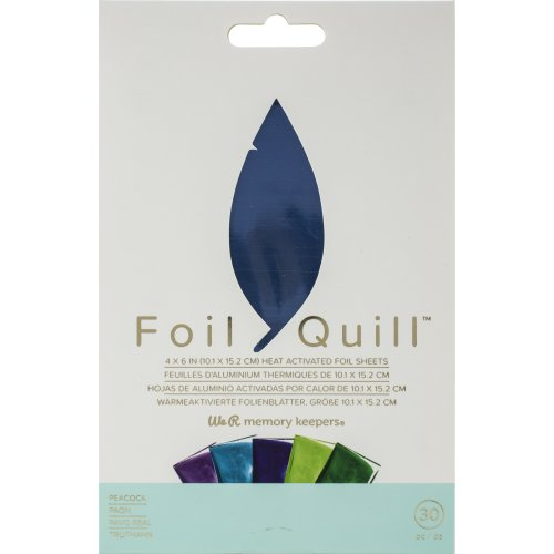 """We R Memory Keepers Foil Quill Foil Sheets 4""""X6"""" 30/Pkg-Peacock"""