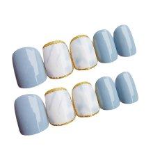 Nail Art Short Round Artificial False Nail Tips Nails Decoration Blue Shading