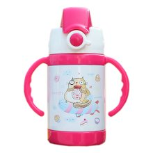 Cute Cat Vacuum Insulated Stainless Steel Sippy Cup with handle, Red, 9 oz