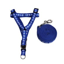 Simple Design Dogs Leash Collar Pets Harness  Supplies Blue Step Style, M Size
