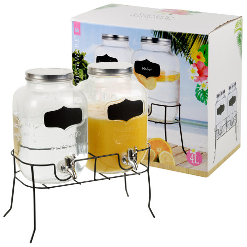 2 x 4 Litre Dual Double Glass Beverage Drinks Dispenser Lid Stand