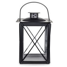 Farol' Traditional Black Metal & Glass 20cm Garden or Home Candle Lantern