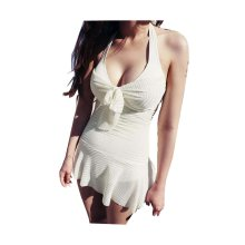 Sexy Show Thin Gathered Type Conjoined Swimming Apparel, White, Medium