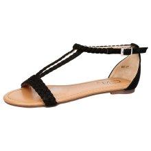 Eloise Womens Flat Open Toe T Bar Summer Sandals